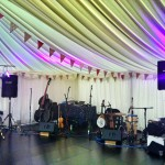 Paddy's Whiskers PA set up ready for a wedding ceilidh and DJ set in Devon